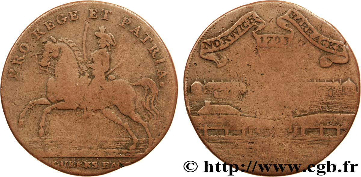 ROYAUME-UNI (TOKENS) 1/2 Penny Norwich (Norfolk) dragon à cheval / caserne 1793  B+