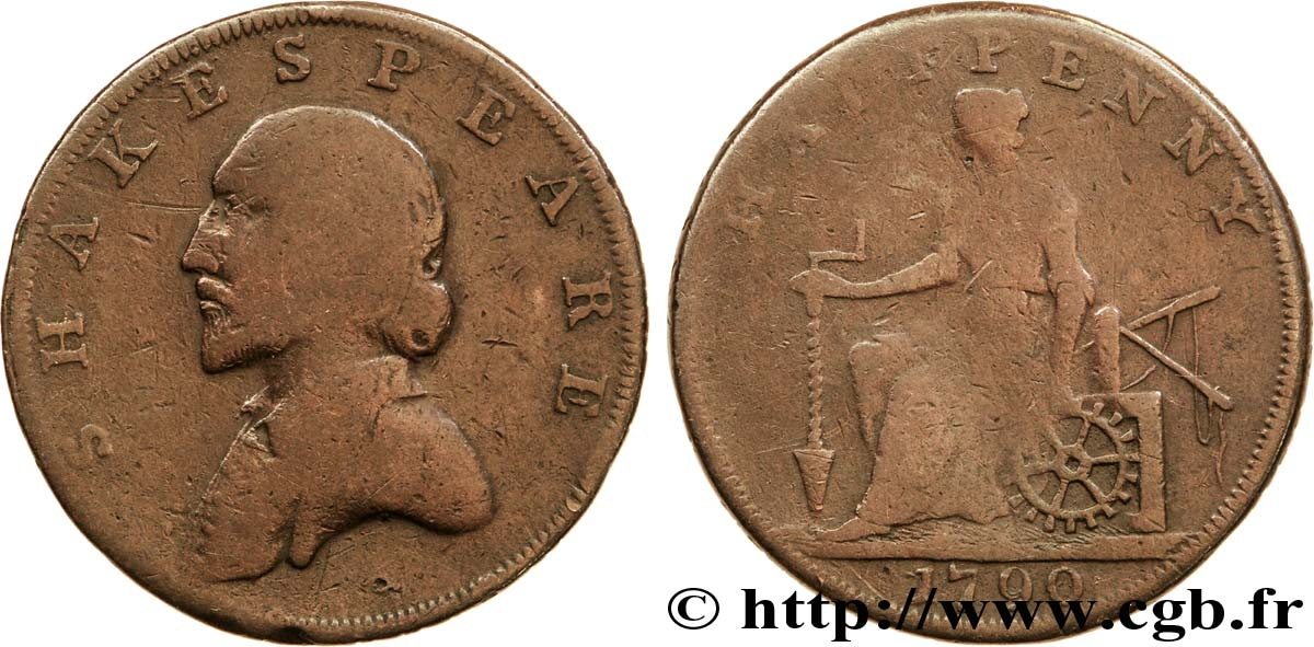 "ROYAUME-UNI (TOKENS) 1/2 Penny Stratford (Warwickshire) William Shakespeare / femme assise avec outils de mine, ""payable in Lancaster London or Liverpool"" sur tranche 1790  B"