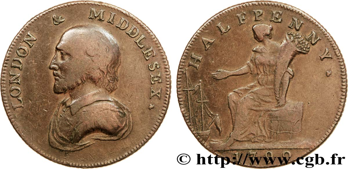 ROYAUME-UNI (TOKENS) 1/2 Penny Londres (Middlesex) William Shakespeare / femme assise avec corne d'abondance 1792  TB