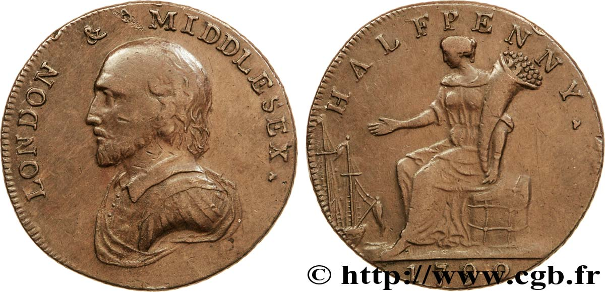 ROYAUME-UNI (TOKENS) 1/2 Penny Londres (Middlesex) William Shakespeare / femme assise avec corne d'abondance 1792  TB+