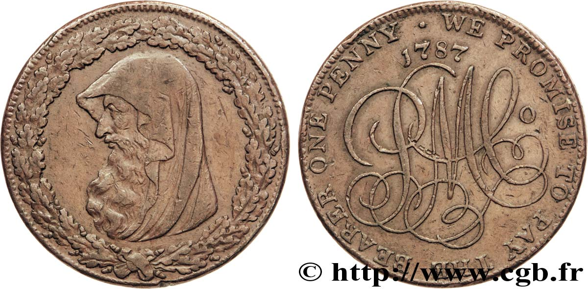 "ROYAUME-UNI (TOKENS) 1 Penny Anglesey (Pays de Galles) druide / PM C° (Parys Mine Company), ""on demand in London Liverpool or Anglesey"" sur la tranche 1787  TTB"