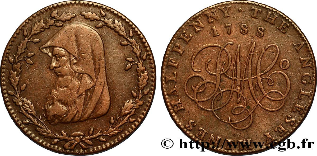 "ROYAUME-UNI (TOKENS) 1/2 Penny Anglesey (Pays de Galles) druide / PM C° (Parys Mine Company), ""on demand in London Liverpool or Anglesey"" sur la tranche 1788  TTB"