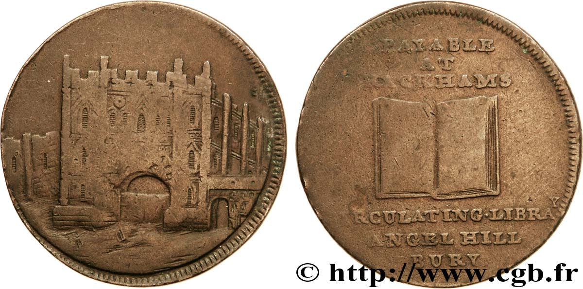 "ROYAUME-UNI (TOKENS) 1/2 Penny Londres (Middlesex) Basil Burchelle, ""this is not a coin but a medal"" sur la tranche N.D.  TB+"
