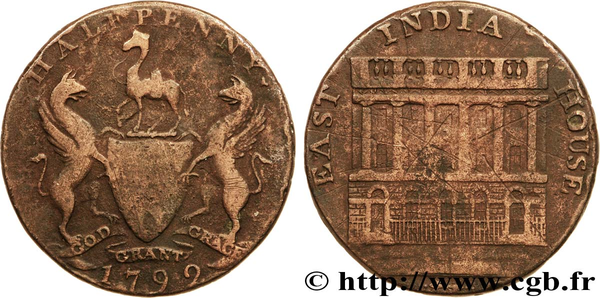 "ROYAUME-UNI (TOKENS) 1/2 Penny Manchester (Lancashire) East India House / armes, ""payable at  I. Fieldings Manchester"" sur la tranche 1792  B+"