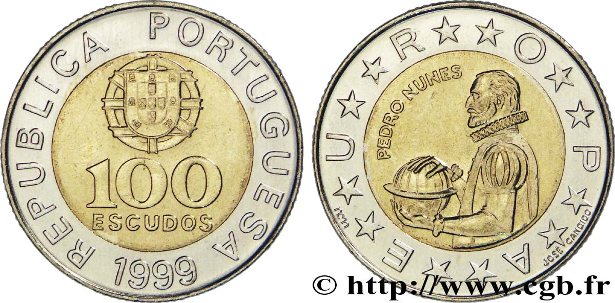 Portugal 1991-100 Escudos Bi-Metallic Coin Pedro Nunes