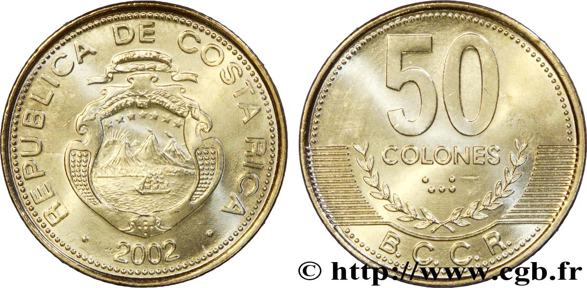 COSTA RICA 50 Colones emblème, émission du Banco Central de Costa Rica (BCCR) 2002  SPL