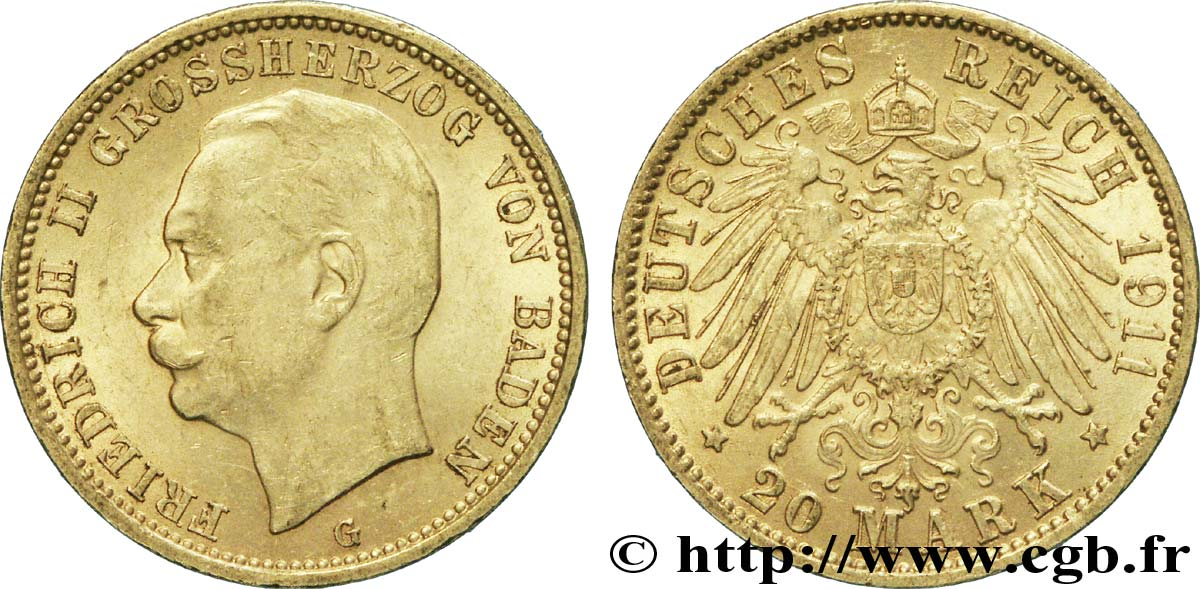 ALLEMAGNE - BADE 20 Mark or Grand-duché de Bade, Frédéric II, Grand-Duc de Bade / aigle impérial 1911 Karlsruhe - G SUP