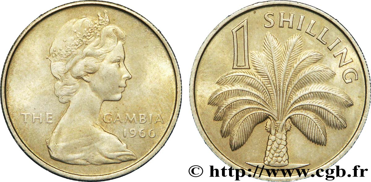 GAMBIE 1 Shilling Elisabeth II / palmier 1966  SUP