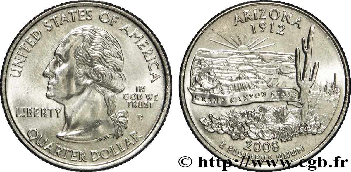 ÉTATS-UNIS D AMÉRIQUE 1/4 Dollar Arizona : vue du Grand Canyon 2008 Denver SPL