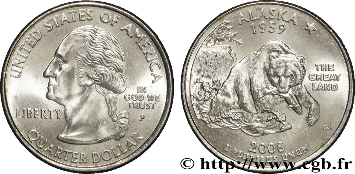 UNITED STATES OF AMERICA 1/4 Dollar Alaska : grizzly pêchant un saumon 2008 Philadelphie MS