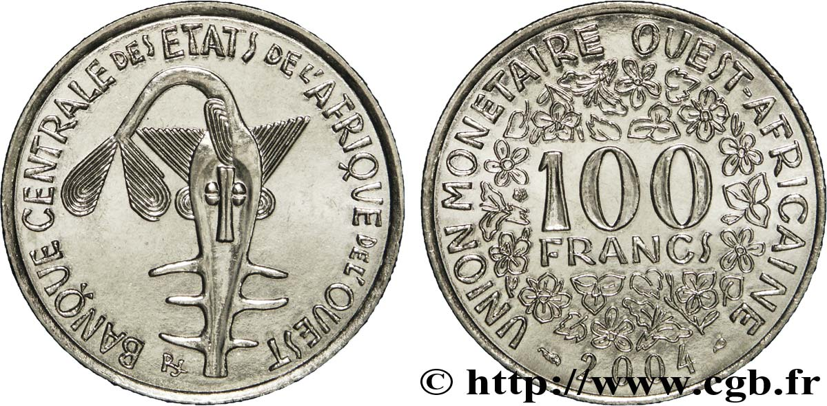 WEST AFRICAN STATES (BCEAO) 100 Francs BCEAO masque 2004 Paris MS