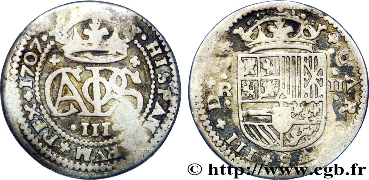ESPAGNE 2 Reales Charles III archiduc prétendant 1707 Barcelone TB