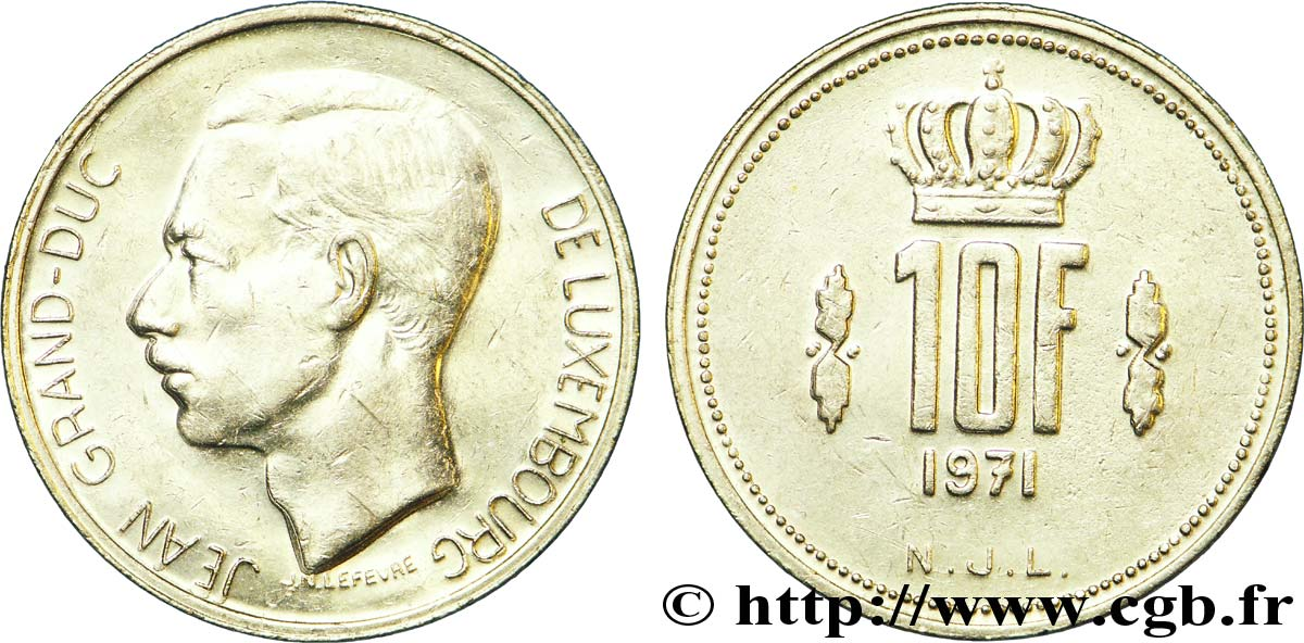 LUXEMBOURG 10 Francs Grand-Duc Jean 1971  TTB+
