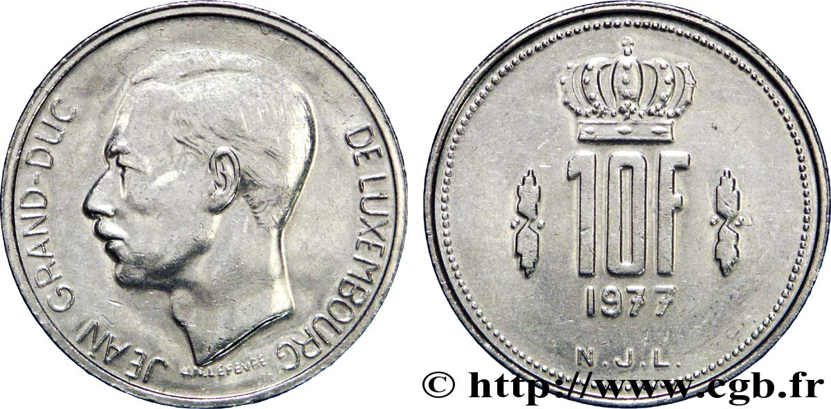 LUXEMBOURG 10 Francs Grand-Duc Jean 1978  TTB+