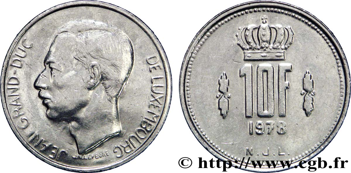 LUXEMBOURG 10 Francs Grand-Duc Jean 1979  TTB+