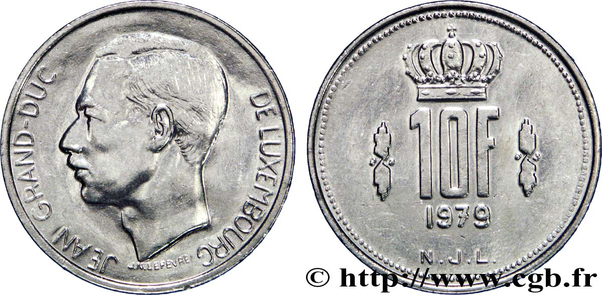 LUXEMBOURG 10 Francs Grand-Duc Jean 1980  TTB+