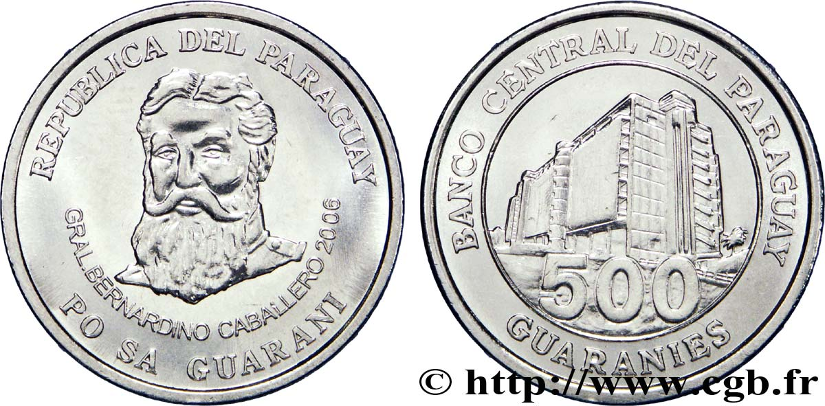 PARAGUAY 500 Guaranies F.A.O. Gal Caballero / Banque centrale 2006  SUP