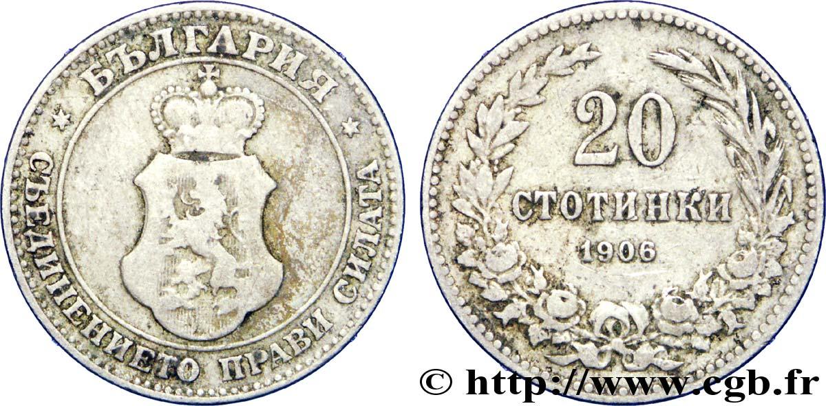 BULGARIA 20 Stotinki emblème 1906