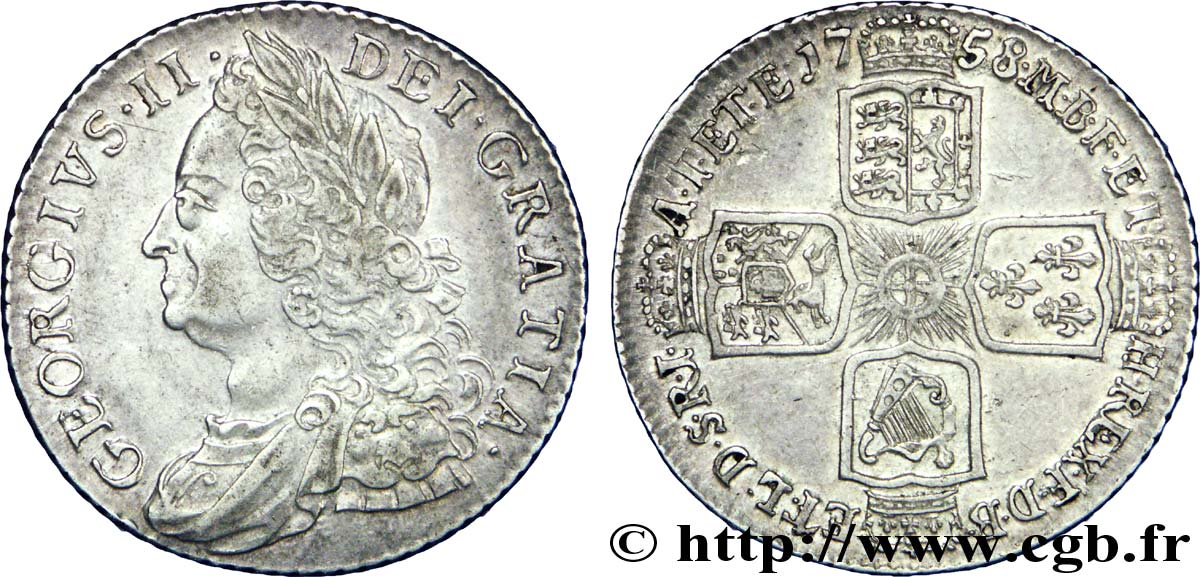 ROYAUME-UNI 1 Shilling Georges II 1758  SUP