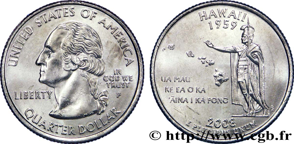 UNITED STATES OF AMERICA 1/4 Dollar Hawaï 2008 Philadelphie MS