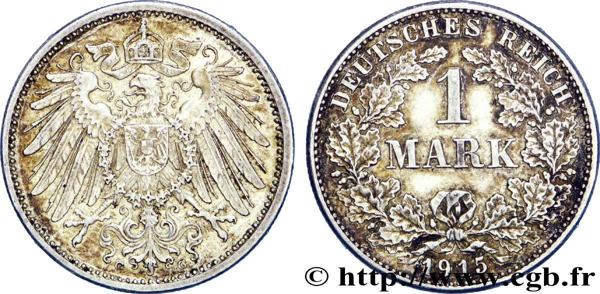 ALLEMAGNE 1 Mark Empire aigle impérial 2e type 1915 Karlsruhe - G SUP