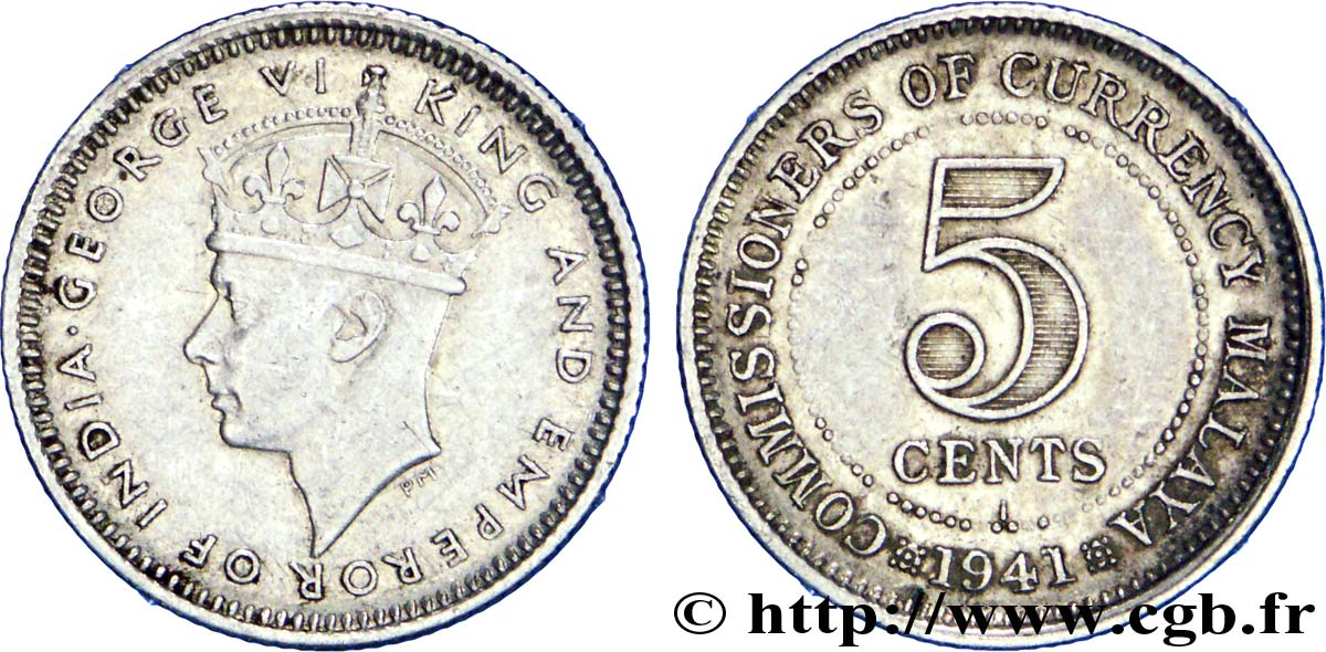 MALAISIE 5 Cents Commisionners of Currency Board Georges VI 1941 Bombay - I TTB+
