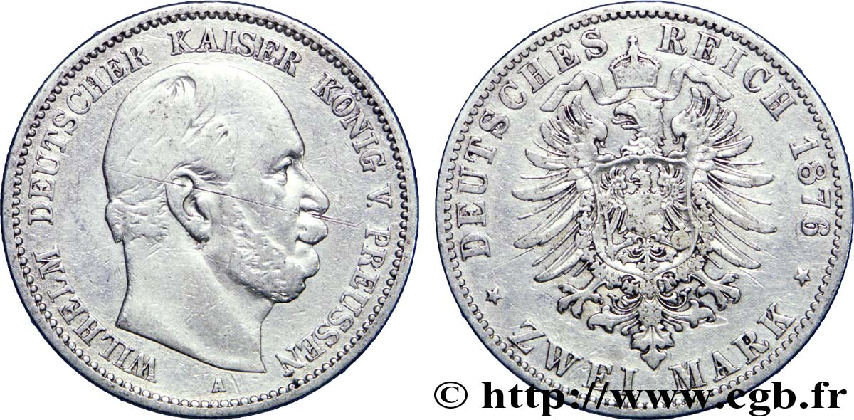 ALLEMAGNE - PRUSSE 2 Mark Guillaume / aigle 1876 Berlin TB+