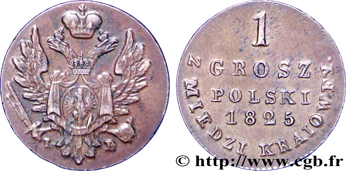 POLOGNE 1 Grosz administration russe aigle bicéphale 1825 Varsovie SUP