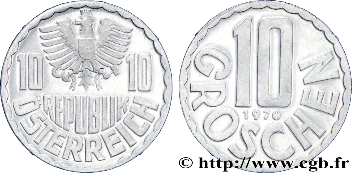 AUTRICHE 10 Groschen BE (proof) aigle 1970  SPL
