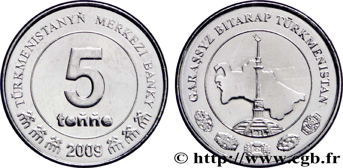 TURKMÉNISTAN 5 Tenge carte du Turkménistan 2009 British Royal Mint SPL