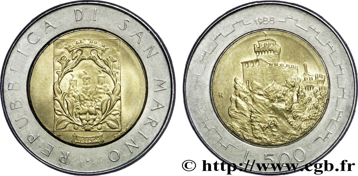 SAINT-MARIN 500 Lire Fortifications 1988 Rome - R SUP
