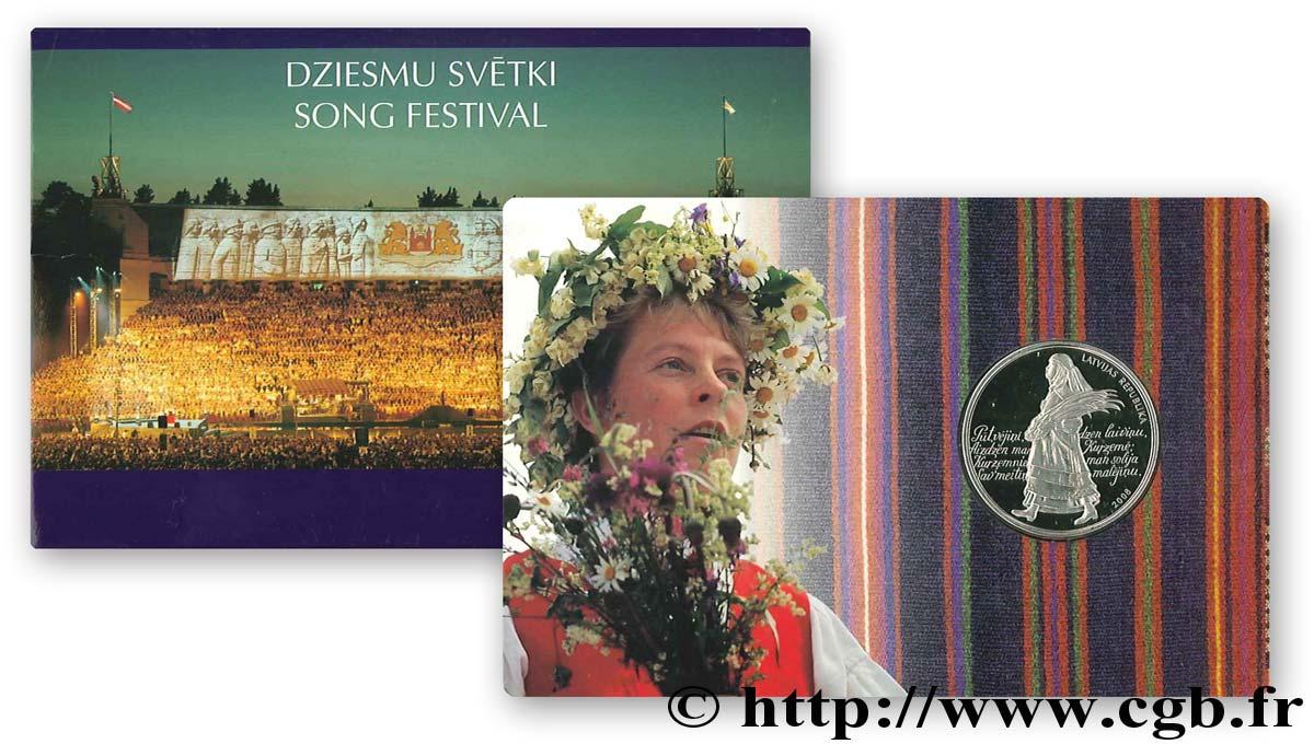 LATVIA 1 Lats BU Festival de la chanson lettone, sous étui 2008 Rahapaja Oy