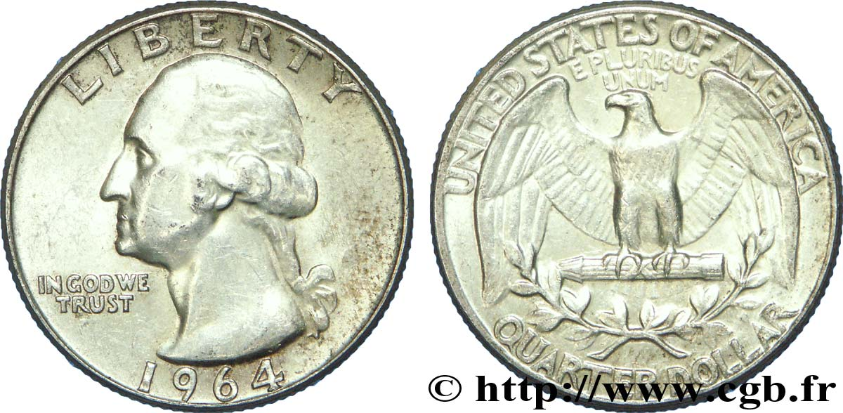 ÉTATS-UNIS D AMÉRIQUE 1/4 Dollar Georges Washington 1964 Philadelphie TTB