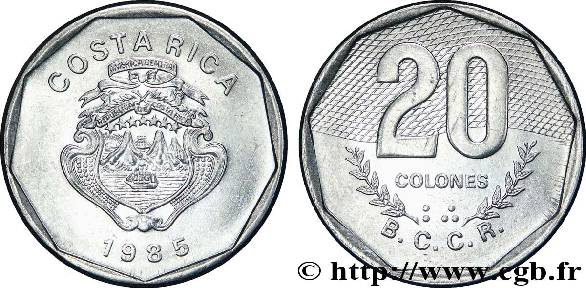 COSTA RICA 20 Colones emblème, émission du Banco Central de Costa Rica (BCCR) 1985  SPL