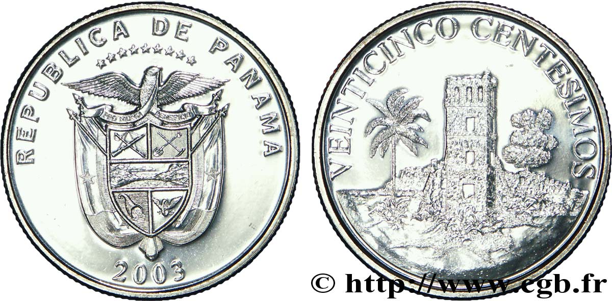 PANAMA 25 Centesimos armes nationales / tour 2003  SPL