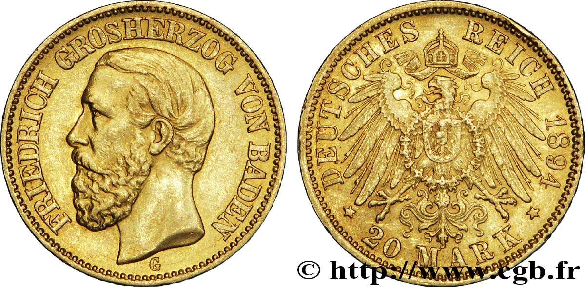 ALLEMAGNE - BADE 20 Mark or Grand-duché de Bade, Frédéric, Grand-Duc de Bade / aigle impérial 1894 Karlsruhe - G SUP