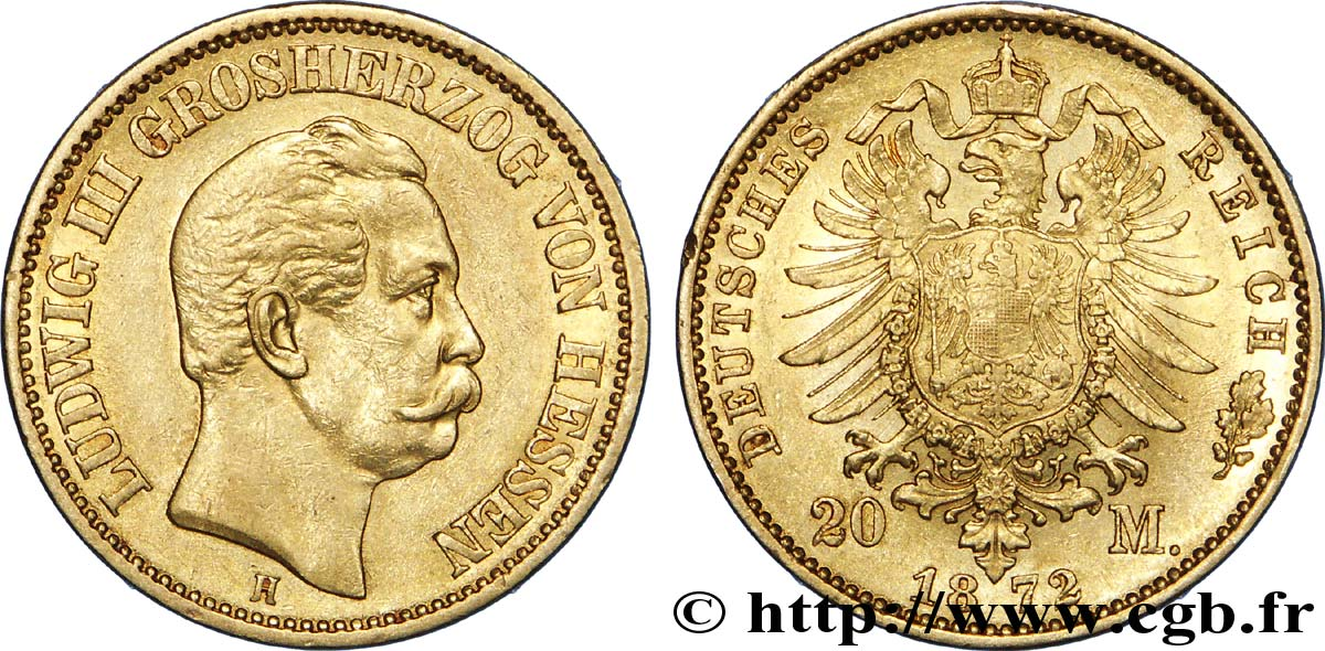 ALLEMAGNE - HESSE 20 Mark or, 1er type Louis III Grand-Duc de Hesse / aigle impérial 1872 Darmstadt SUP