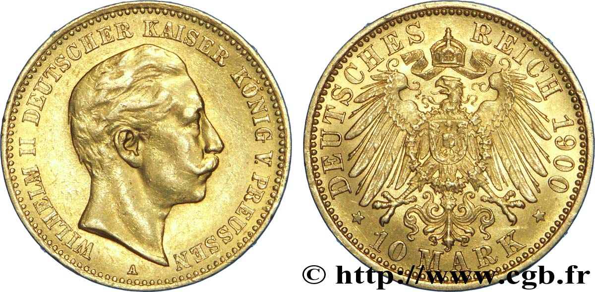 ALLEMAGNE - PRUSSE 10 Mark or, 2e type Guillaume II / aigle impérial 1900 Berlin SUP