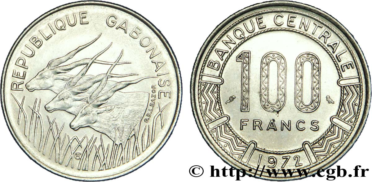 GABON 100 Francs antilopes 1972 Paris SPL