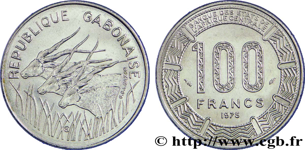 GABON 100 Francs antilopes 1975 Paris SUP