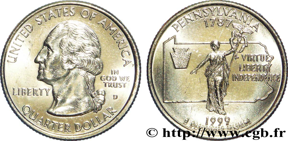ÉTATS-UNIS D AMÉRIQUE 1/4 Dollar Pennsylvanie : statue  Commonwealth  1999 Denver SPL