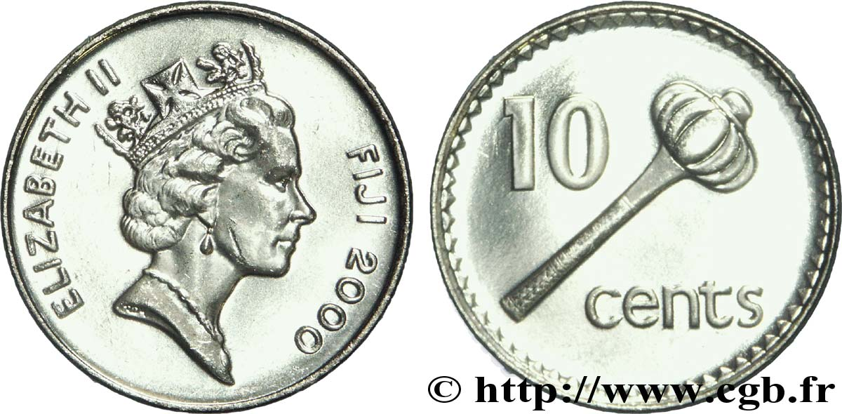 FIDJI 10 Cents Elisabeth II / massue 2000 Royal Mint, Llantrisant SPL