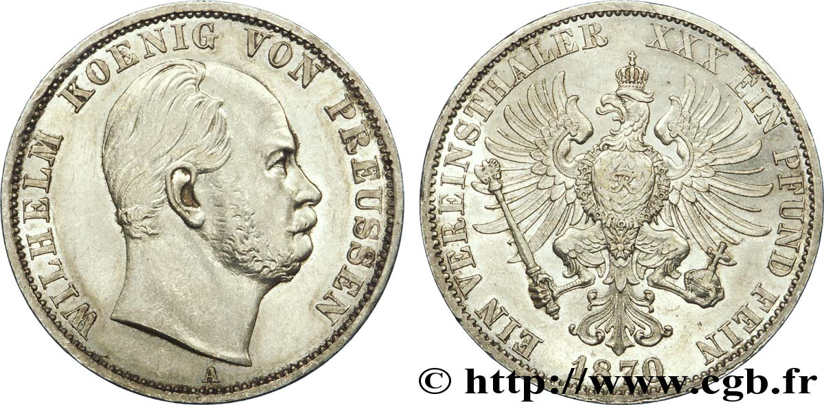 ALLEMAGNE - PRUSSE 1 Thaler Guillaume / aigle 1870 Berlin SUP