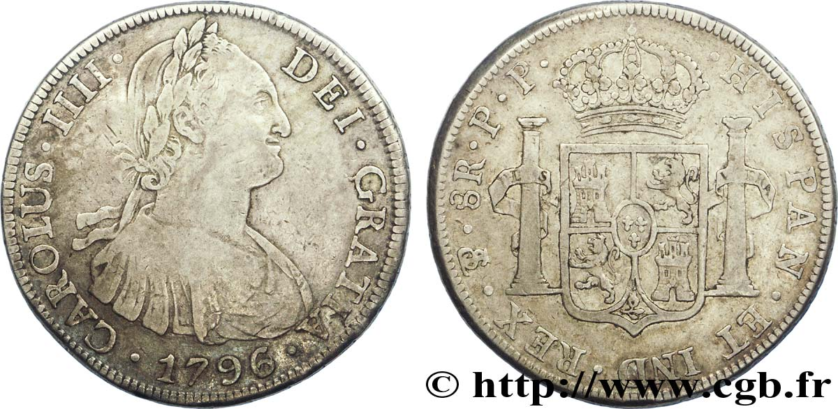 BOLIVIE 8 Reales Charles III d'Espagne PP 1796 Potosi TB+