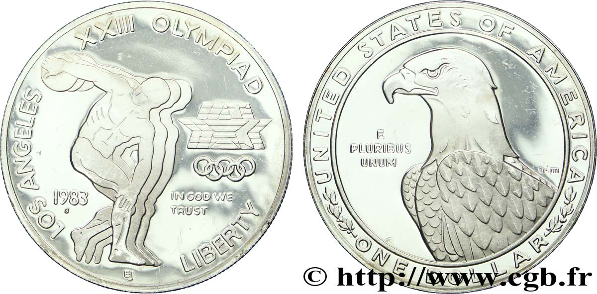 ÉTATS-UNIS D AMÉRIQUE 1 Dollar BE (proof) J.O. de Los Angeles aigle / lanceur du disque 1983 San Francisco - S SUP