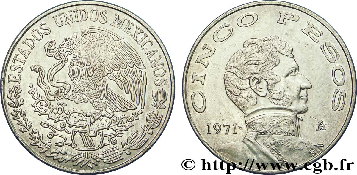 MEXIQUE 5 Pesos aigle mexicain / Vicente Guerrero 1971 Mexico SUP