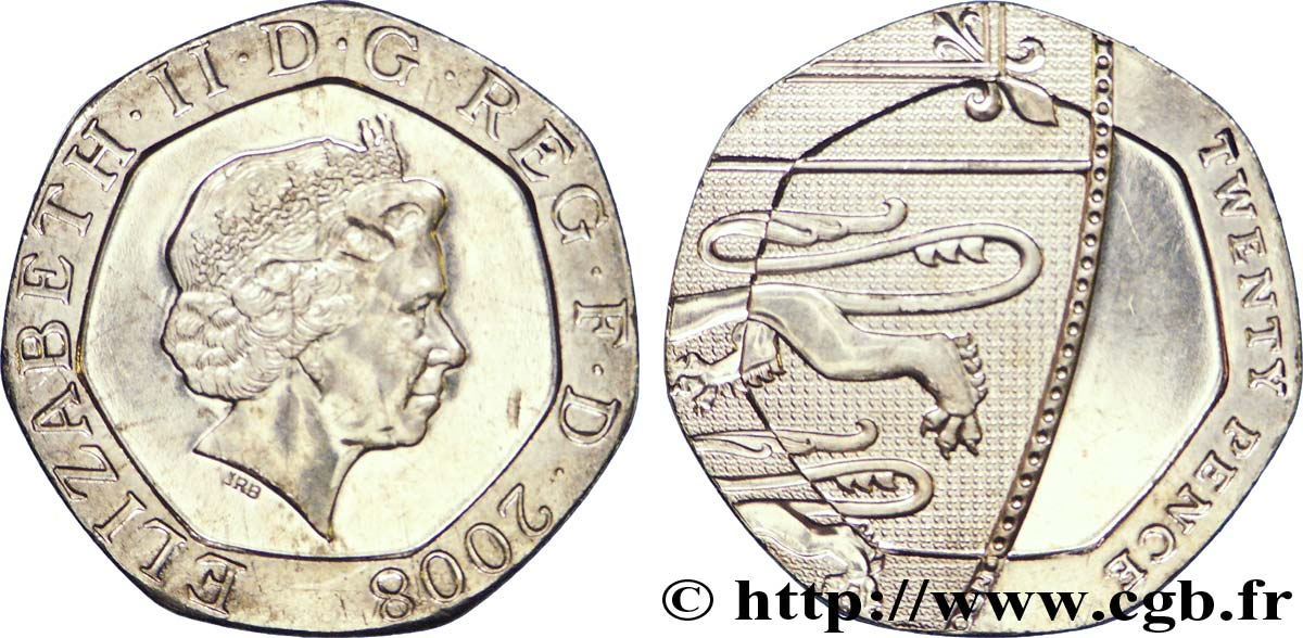 UNITED KINGDOM 20 Pence Elisabeth II 2008  MS