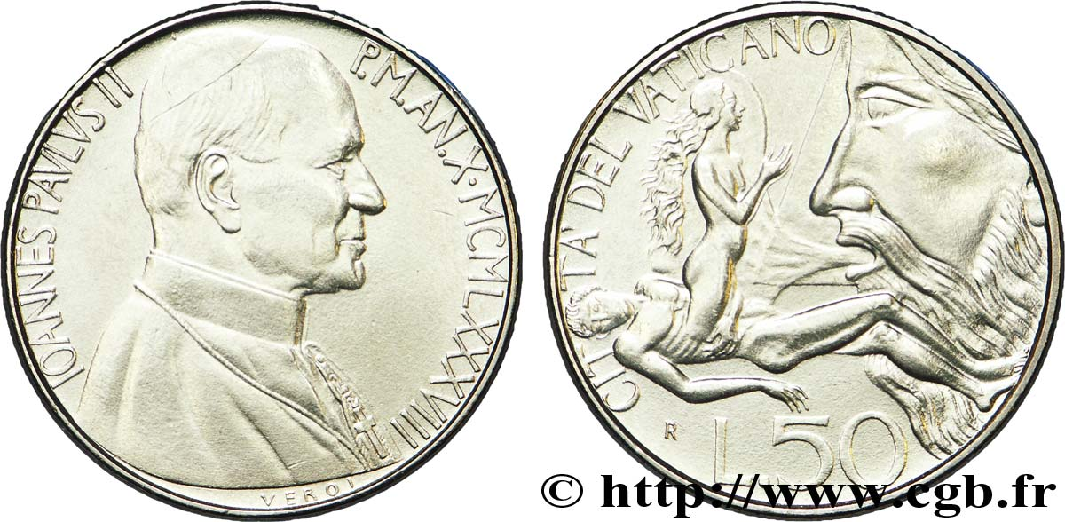 VATICAN AND PAPAL STATES 50 Lire Jean Paul II an X 1988  AU