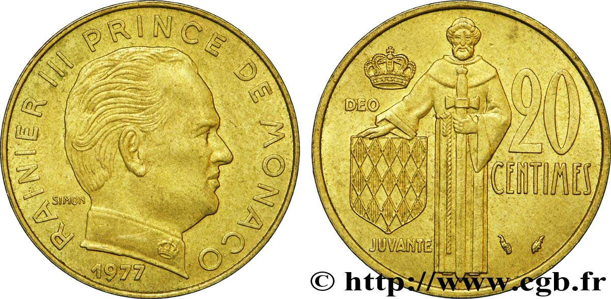 MONACO 20 Centimes Rainier III 1977 Paris SUP