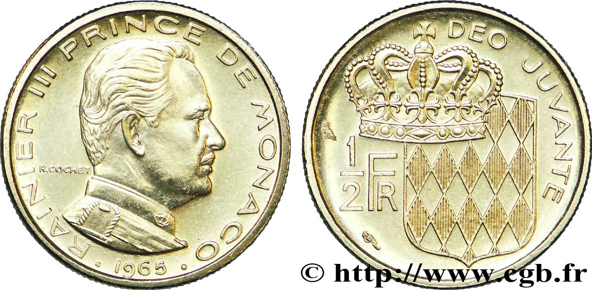 MONACO 1/2 Franc Rainier III / écu couronné 1965 Paris MS